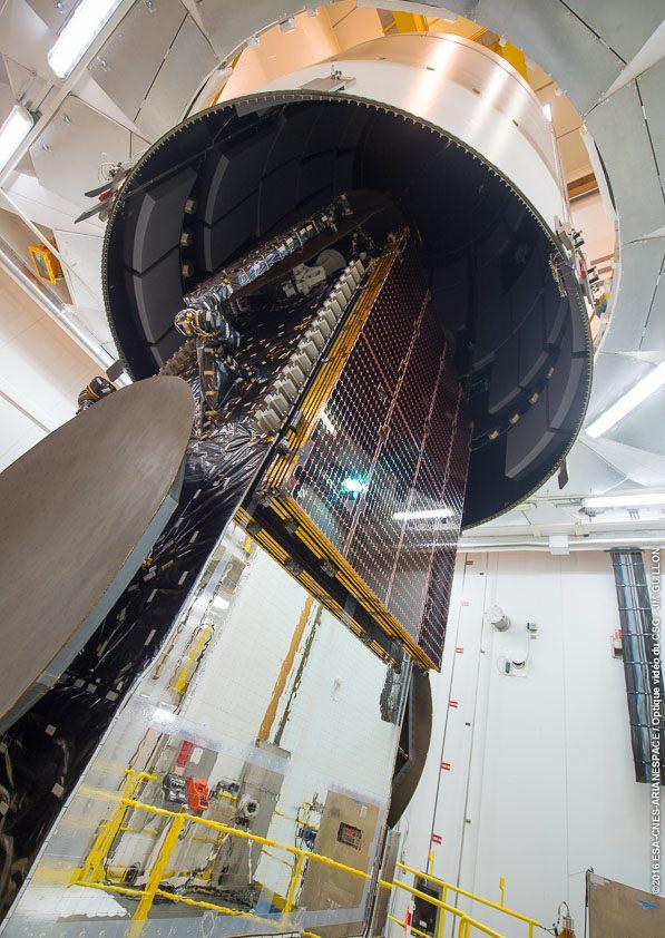 Star One D1 помещается  в головной обтекатель. (Credit: Arianespace)